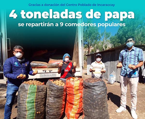Más de cuatro toneladas de papas en beneficio de comedores populares