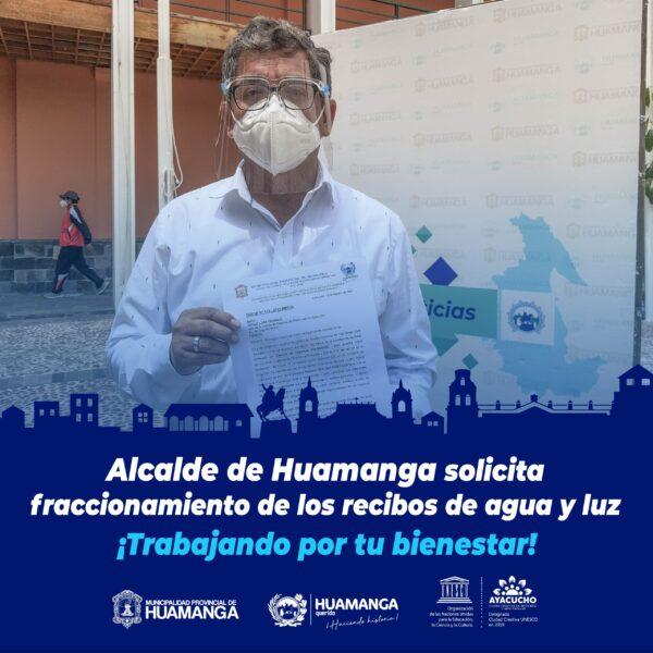 Alcalde solicita fraccionamiento de recibos de agua y luz